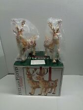 Rare! Fitz and Floyd Father Christmas 2 Reindeer Candle Holders 2003 RETIRED