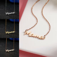 Women Lockbone Chain Necklace Letter Mama Stainless Steel Pendant Gifts
