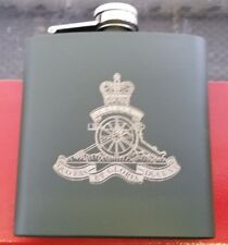 ROYAL ARTILLERY MILITARY GREEN STAINLESS STEEL ENGRAVED 6oz HIP FLASK