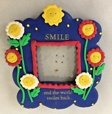"Blue Multi Floral 2.5X3.5"" SMILE & WORLD SMILES BACK Frame Holds 1.5X1.5"" Photo"