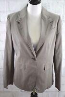 New BCBG Maxazria  Women's Blazer Gray Pinstripe 1 Button Lined Stretch  Sz L