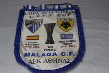 BANDERIN DE  UEFA CUP VINTAGE DEL MALAGA C.F Y EL AEK DE ATENAS COTIZADO VINTAGE