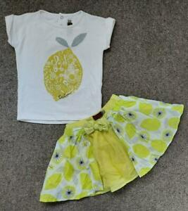 CATIMINI GIRLS SUMMER TOP AND SKIRTOUTFIT, MULTICOLOURED DESIGN, 18MTHS
