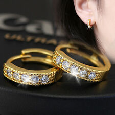 Shiny 18K Yellow Gold Plated Small Cubic Zirconia CZ Huggie Hoop Earrings Gift