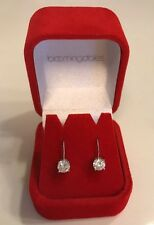 Bloomingdales Drop Earrings Cubic Zirconia Silver tone Fashion Jewelry New Boxed