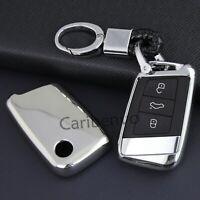 Silver Finer Car Key Keychain Holder Cover For VW B8 Passat Arteon Atlas Jetta