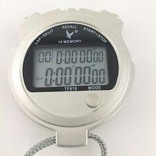Handheld Metallic 2 row display 10 dual split Swimming Running Stopwatch Timer