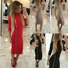 Women's Bandage Bodycon Long Sleeve Evening Sexy Party Cocktail Zip Pencil Dress
