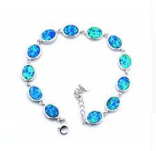 Armband Armkette Feueropal fire opal Stein blau feuer Halbedelstein bracelet 51