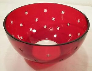 Ruby Red Cut to Clear Stars Glass Bowl 7 inch