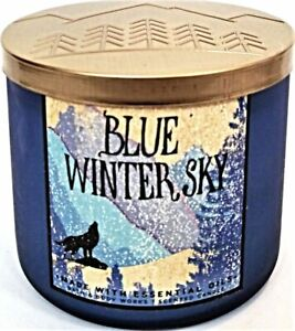 Bath Body Works BLUE WINTER SKY 3 Wick Candle 14.5 oz Large Jar COLOGNE Scent