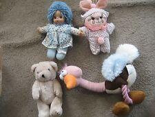 Vintage 1980's Stuffed Animal w/ Ocean Toys Doll Purple Yarn Hair  Clown LOT  4