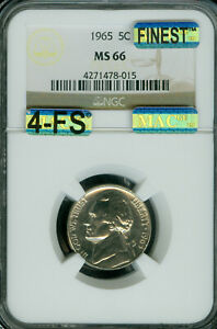 1965 JEFFERSON NICKEL NGC MAC MS66 4FS BUSINESS STRIKE SPOTLESS $20,000.00 IN FS
