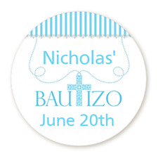 Bautizo Blue Cross - Round Personalized Baptism Christening Sticker Labels