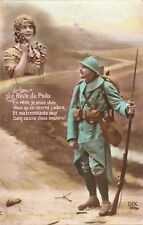 CPA GUERRE 14-18 WW1 PATRIOTIQUE FANTAISIE le rêve du poilu écrite 1916
