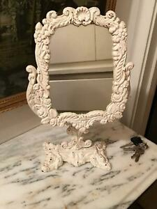 Antique Victorian White Cast Iron Freestanding Dressing Table  Mirror Bathroom