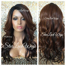 Long Wavy Lace Front Wig Brown Color Mix #27 Dark Roots Ombre Layers Heat Safe