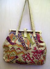 "New Ladies JUTE Handbag Purse Burlap Beachbag Tote 15"" X 15"" Bamboo Top Frame"