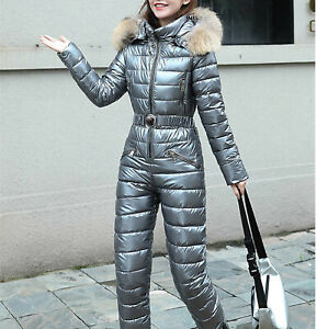 Women Real Fur Collar Cotton Romper Jumpsuit Winter Ski Suit Hooded Warm Thicken