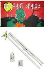 3x5 Happy Halloween Zombie Wants Brains Flag White Pole Kit Set 3'x5'