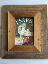 Country Timber Pears Puppy with Boy in Bath Print Frame