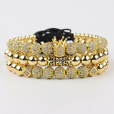 3PCS Fashion Luxury Men's Micro Pave CZ Ball Crown Braided Adjustable Bracelets