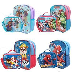 Boys Girls Kids Backpack Junior Toddlers Character Rucksack School Lunch Bag Box