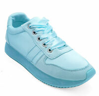 WOMENS BLUE LACE-UP FLAT COMFY CASUAL PLIMSOLL TRAINER PUMPS SHOES SIZES 3-8