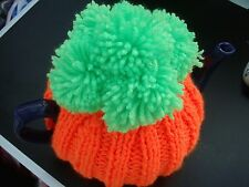 Hand knitted carrot/pumpkin  Halloween gift tea cosy approx 4 cup no pot orange