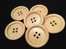 6 NATURAL WOOD BUTTONS LARGE 30mm FOR SEWING CRAFTS AND FANCY DRESS