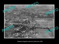 OLD LARGE HISTORIC PHOTO OF BRAINTREE ENGLAND, AERIAL VIEW OF THE TOWN c1920 1