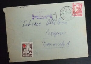 Yugoslavia 1955 Red Cross Rotes Kreuz Stamp on Cover from Bosnia to Serbia A4