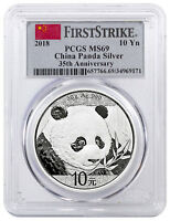 2018 China 30 g Silver Panda ¥10 Coin PCGS MS69 FS Flag Label SKU50540