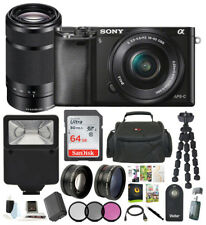 Sony Alpha a6000 Camera 16-50mm & 55-210mm Zoom Lens (Black) + 64GB Kit