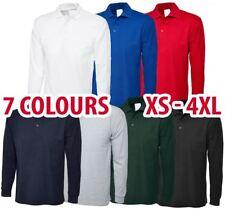 Mens & Womens Long Sleeve POLO SHIRT Plain Top Casual Work Smart Full Sleeve