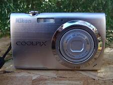 Nikon COOLPIX S230 10.0MP Digital Camera - Warm silver W/2 Batteries+Data Cbl+SD