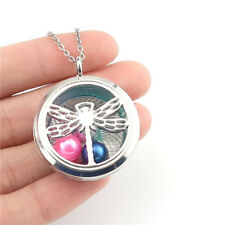"""K1186 Silver Color Pearl Cage Wing Dragonfly Floating Diffuser Necklace 20"""""""