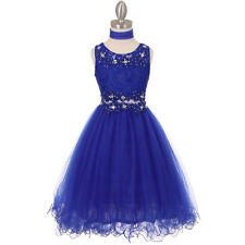 ROYAL BLUE Flower Girl Dresses Bridesmaid Wedding Birthday Formal Pageant Dance