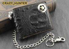 Aligator Skin Style with Star Concho Mens Biker Leather Chain Wallet Money Clip