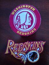 "(2) Washington Redskins Vintage Embroidered Iron On Patches 3.5"" x 2.5 & 3"" x 3"
