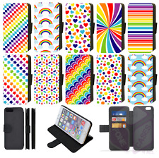 Rainbow Colours Design Wallet Flip Phone Case iPhone 5,6,7,8 Plus,XS,11 Pro Max