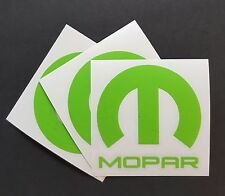 "3 X Mopar Vinyl Decal Sticker Dodge Jeep, 3""X 3''.DIE CUT, LIME GREEN"
