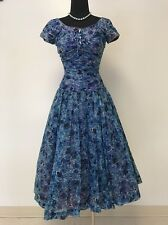 Authentic Vintage Great Cond Blue Floral Tea Party Dress 50s Style Bows Shirring