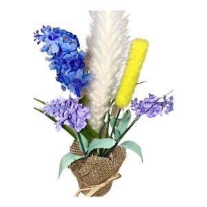 New Artificial Flowers Arrangements Lilac Blue Mini  Bouquets Burlap Centerp