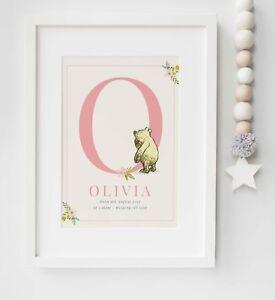 Personalised Winnie the Pooh Name Birth Nursery Print Christening UNFRAMED