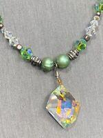 "Vintage Green Pearl Aurora Borealis Glass Drop Pendant Crystal Necklace 14"""