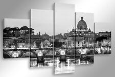 Quadro Moderno 5 pz. ROMA SKYLINE B/N 5 pz. cm 150x90 arredamento stampa su tela