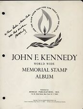 ROBERT KENNEDY SIGNATURE ON JFK W/W MEMORIAL STAMP ALBUM COVER HV8173