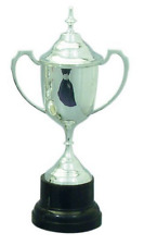 NEW SILVER PLATED TROPHY CUP 30cm H w LID AND BASE ENGRAVABLE ITEM