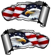 Petite paire Déchiré Métal Rip Gash American Eagle & Drapeau Américain Autocollant Voiture Décalque